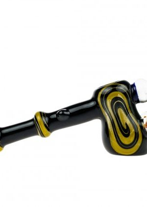 G-Spot Glass Hammer Bubbler Pipe – Black and Yellow with Three Large Marbles