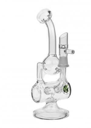 Black Leaf – Recycler Bubbler with Drum Diffuser – Clear