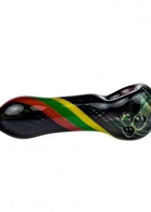 G-Spot Glass Spoon Pipe – Black with Rasta Stripes