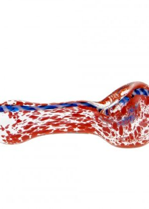 G-Spot Glass Spoon Pipe Red Frit with Blue Stripe