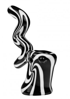 G-Spot Glass Sherlock Bubbler Pipe – Black and White Swirl