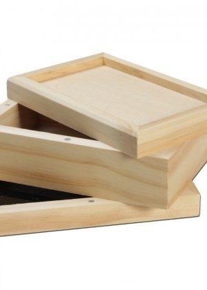 Wooden Pollen Sifter Kief Box   3-part