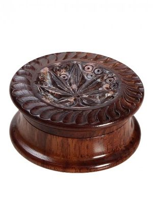 Rosewood Herb Grinder | Carved Soapstone Leaf Lid | 2-part | 45mm wide