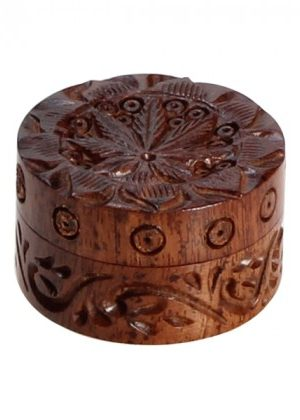 Rosewood Herb Grinder Carved Pot Leaf Lid | 2-part | 35mm wide