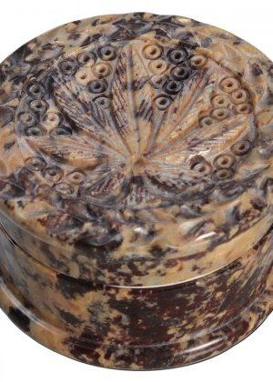 Soapstone Cylinder Herb Grinder – Carved Pot Leaf Lid – 2-part