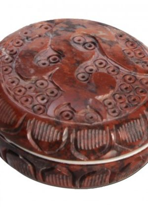 Soapstone Herb Grinder – Carved Om Symbol Lid – 2-part