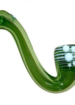 Glass Mini Sherlock Pipe Green Glass with White Wrap and Artwork