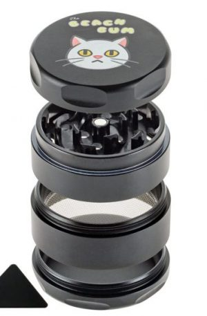 The Beach Bum 4-part Magnetic Aluminum Grinder | Cat | Black