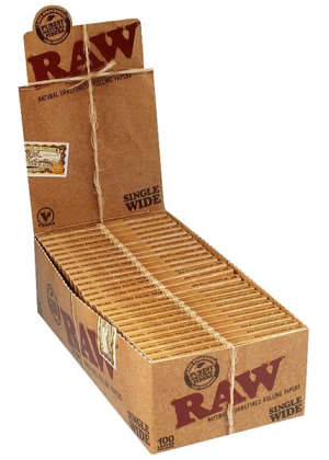 RAW Natural Single Wide Twin Pack Hemp Rolling Papers – Box of 25 Packs