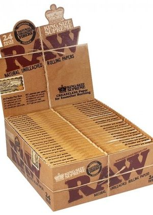 RAW Natural King Size Supreme Hemp Rolling Papers – Box of 24 Packs