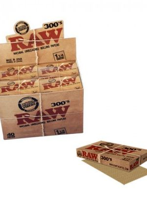 RAW Natural 300's – Regular Size Hemp Rolling Papers – Box of 40 Packs