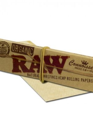 RAW Organic Connoisseur King Size Slim Hemp Rolling Papers with Filter Tips – Single Pack
