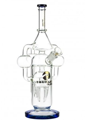 Tsunami Glass Jelly Tooth Triple Tube Recycler Bong