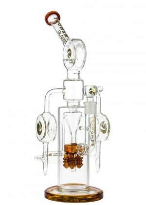 Tsunami Glass Electric Showerhead Tree Perc Puck Recycler Bong