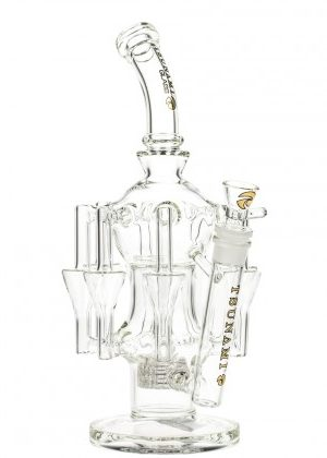 Tsunami Glass 8-Arm Recycler Bong Showerhead Perc | Clear