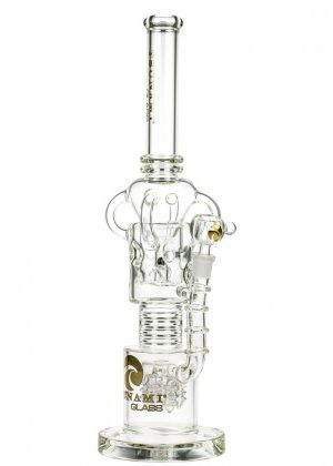 Tsunami Glass Swiss Perc Electric Showerhead Recycler Bong | Clear