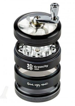 Grasscity Mills Aluminum Crank Herb Grinder | 4-Part