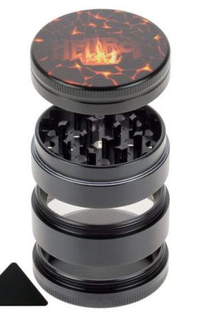 Hellboy 4-part Magnetic Aluminum Grinder | Flaming Lava | Black