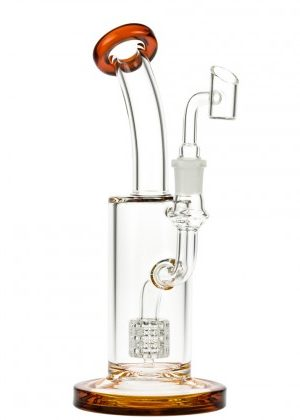 Glasscity Glass Dab Rig with Drum Perc | Amber