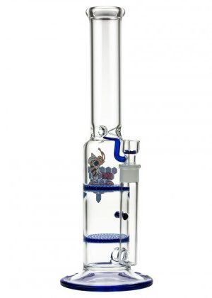 Black Leaf Glass Ice Bong with Double HoneyComb Disc Perc | 38cm