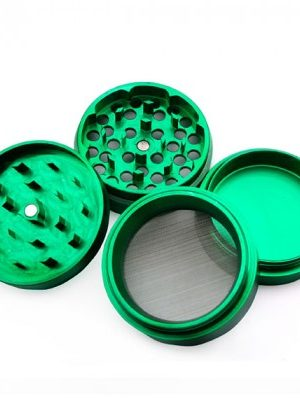 Aluminum Herb Grinder with Pollen Screen 56mm – 4-part – Various Colors