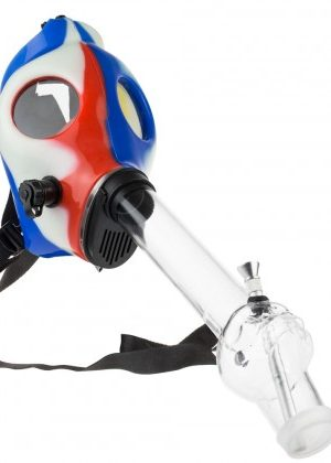 Silicone Gas Mask Bong with Acrylic Tube | Red White Blue