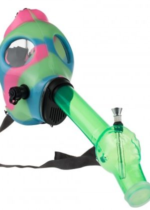 Silicone Gas Mask Bong with Acrylic Tube | Light Blue Pink Green