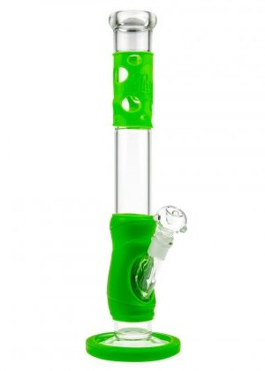 Black Leaf Silly Skin Straight Glass Bong with Silicone Skin