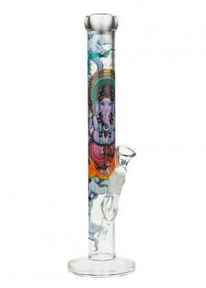 Black Leaf Ganesha Rising Straight Tube Glass Bong | Clear