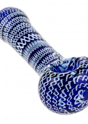 Glasscity Cobalt Blue Spoon Pipe with White Pattern