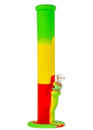 Straight Silicone Bong with Glass Herb Bowl | Rasta