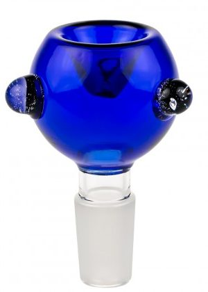 Cobalt Blue Glass Bowl with Glass Marbles