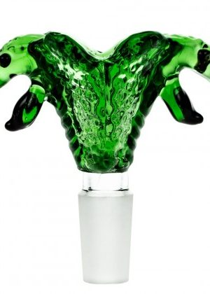 Glass Double Cobra Head Bowl | Green