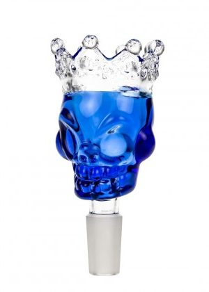 Glass Skull Bowl with Crown | Blue