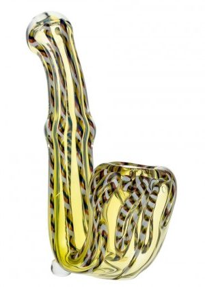 Glasscity Fumed Glass Sherlock Pipe with Multicolored Canes