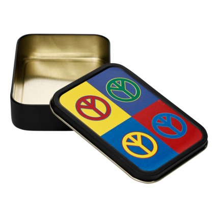Metal Stash Tin – Peace Sign Four Times