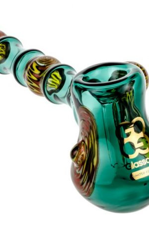 Glasscity Limited Edition Teal Glass Hammer Bubbler with Reversals