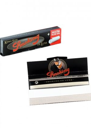 Smoking Deluxe King Size Slim Rolling Papers with Filter Tips – Single Pack